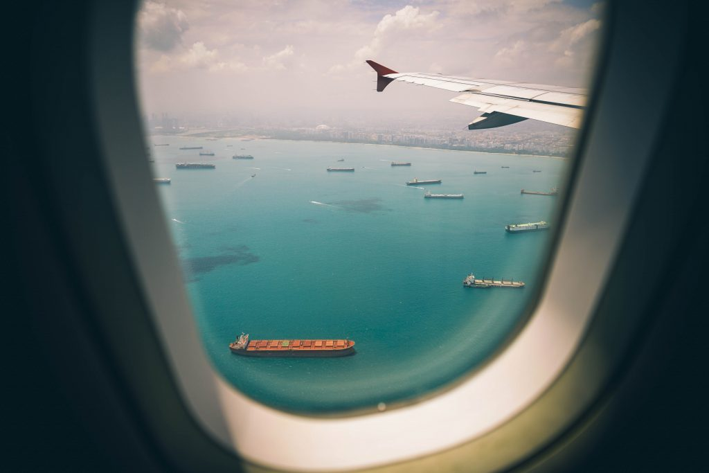 Air view of ocean from plane