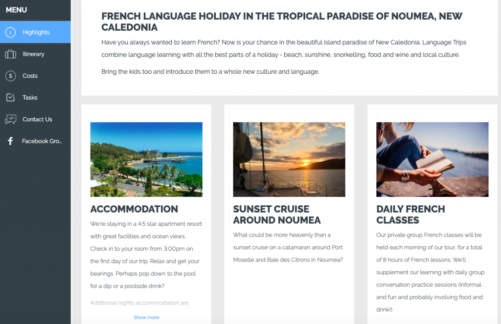 French Language Trip to New Caledonia